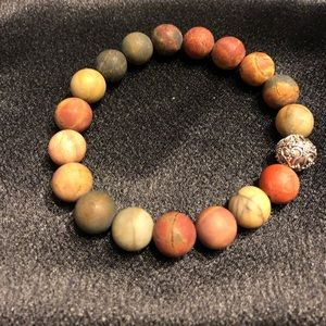 Matte Red Creek Jasper Stretch Bead Bracelet